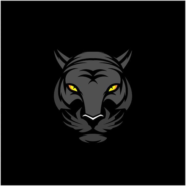 Zwarte tijger hoofd illustraties