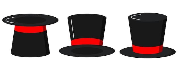 Zwarte tovenaar cilinderhoeden met rood lint set. plat ontwerp. magische hoeden geïsoleerd op een witte achtergrond. retro stijl elegante heren hoofdtooi set. gentleman accessoire collectie vectorillustratie.