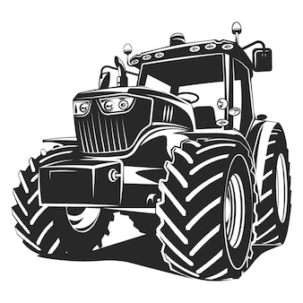 Zwarte tractor op witte achtergrond