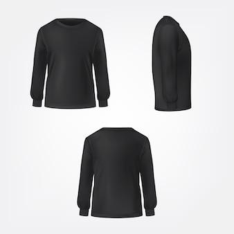 Zwarte trui drie zijden bekijken realistische vector