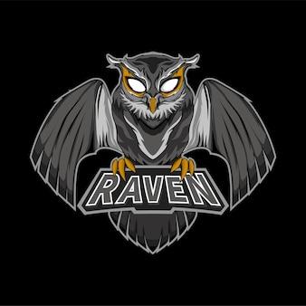 Zwarte uil esport gaming mascotte logo
