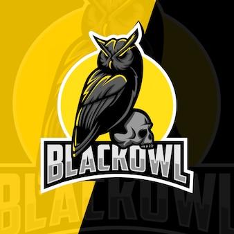 Zwarte uil mascotte esport logo ontwerp