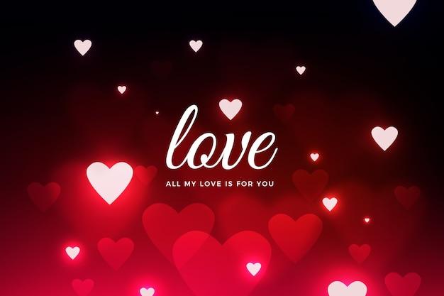 Zwarte valentijnsdag wazig achtergrond met rode harten