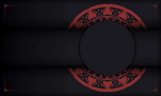 Zwarte vector achtergrond met ornamenten en plaats voor uw logo. ontwerp achtergrond met vintage ornament.