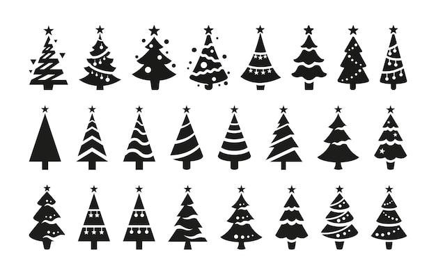 Zwarte vector iconen van kerstbomen geïsoleerd op een witte achtergrond. zwarte silhouetten van gestileerde kerstbomen met sterren aan de bovenkant.