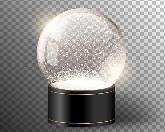Zwarte vector sneeuwbol lege sjabloon geïsoleerd op transparant