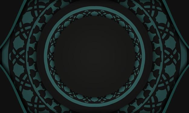 Zwarte vectorachtergrond met griekse blauwe ornamenten en plaats voor uw logo. briefkaartontwerp met abstract ornament.