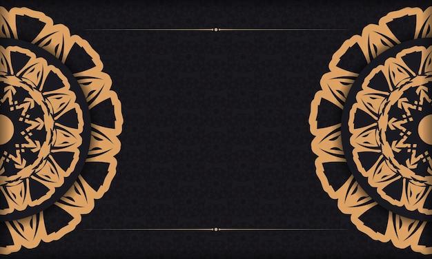 Zwarte vectorbanner met ornamenten en plaats voor uw logo en tekst. afdrukbare achtergrond ontwerpsjabloon met luxe ornament.