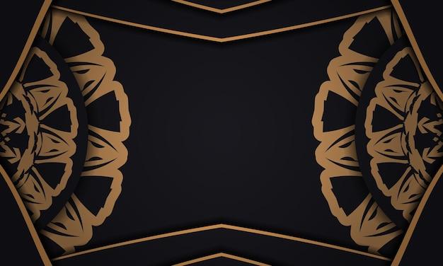 Zwarte vectorbanner met ornamenten en plaats voor uw tekst en logo. sjabloon voor print ontwerp achtergrond met luxe patronen.