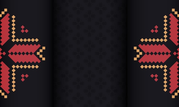 Zwarte vectorbanner met sloveense ornamenten en plaats voor uw logo en tekst. sjabloon voor ansichtkaart print ontwerp met luxe ornament.