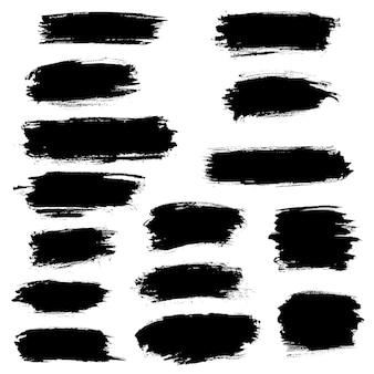 Zwarte verf penseelstreken markeerstift lijnen of viltstift marker illustratie