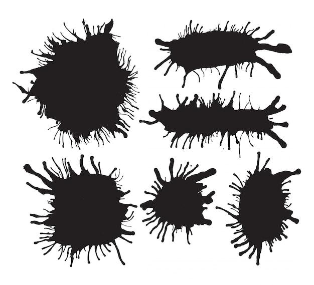 Zwarte verf vlekken collectie