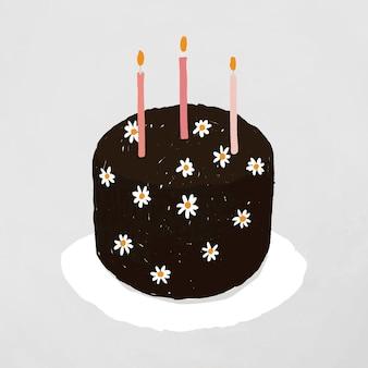 Zwarte verjaardagstaart element vector schattig hand getrokken stijl