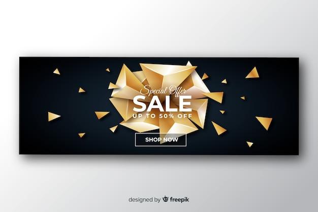 Zwarte verkoop banner gouden elementen