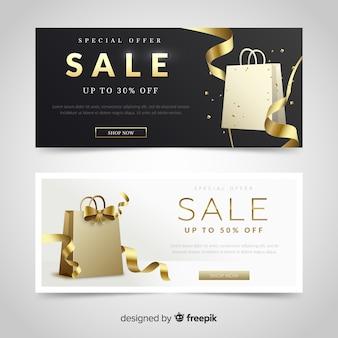 Zwarte verkoopbanner met gouden details