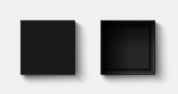 Zwarte vierkante doos bovenaanzicht open en sluit geschenkdozen