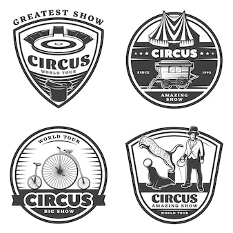 Zwarte vintage circus emblemen set