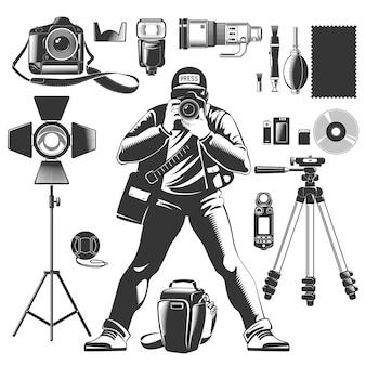 Zwarte vintage fotograaf icon set met man en apparatuur elementen voor werk