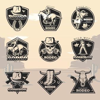 Zwarte vintage rodeo-logo's set