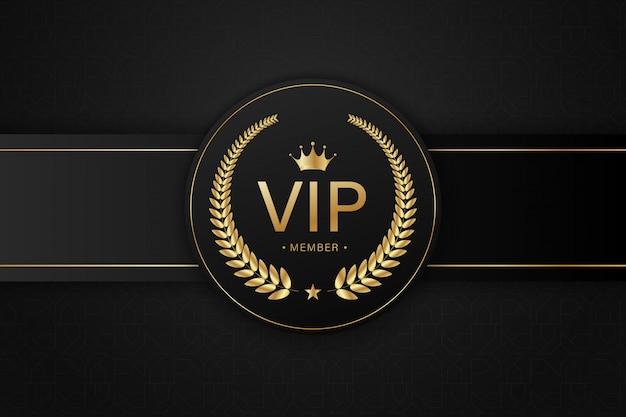 Zwarte vip-kaart gouden badge