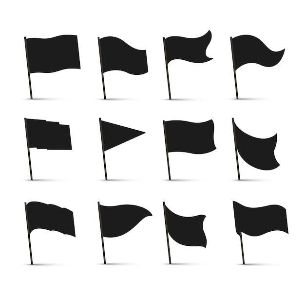 Zwarte vlagpictogrammen