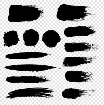 Zwarte vlek set met transparante achtergrond