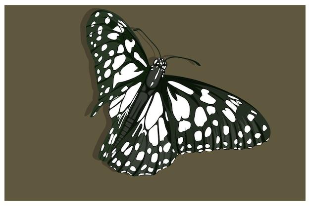 Zwarte vlinderillustratie met witte stippen