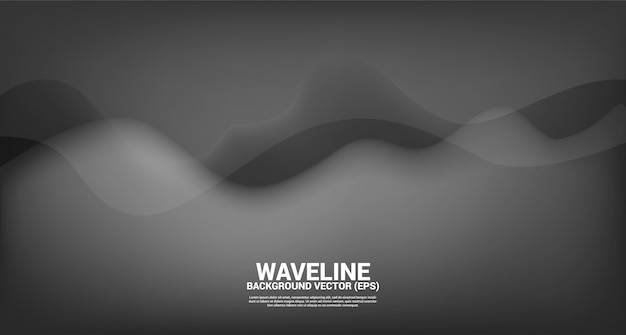 Zwarte vloeiende curve vorm achtergrond. conceptontwerp voor vloeiende futuristische en vloeibare golfstijlkunstwerken
