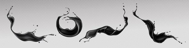 Zwarte vloeistof spatten, wervelen en golven met verspreide druppels