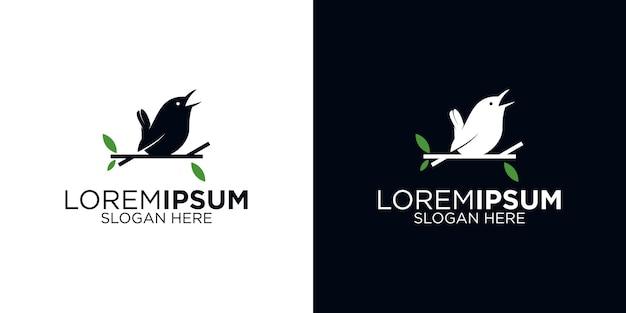 Zwarte vogel logo ontwerpsjabloon