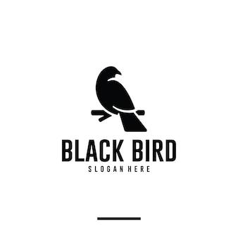 Zwarte vogel, raaf, logo-ontwerpinspiratie