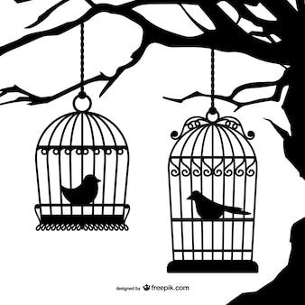 Zwarte vogelkooien silhouetten