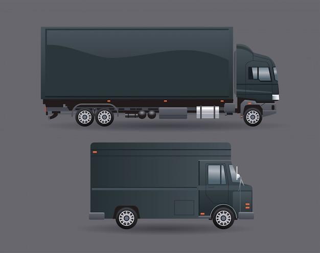 Zwarte vrachtwagen en busje
