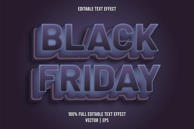Zwarte vrijdag 3 dimensie bewerkbaar teksteffect blauwe en paarse kleur