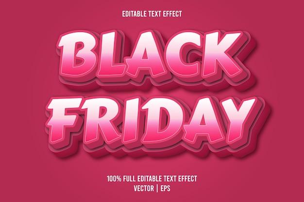 Zwarte vrijdag 3 dimensie bewerkbare teksteffect roze kleur