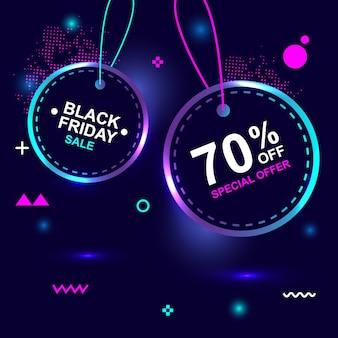 Zwarte vrijdag 70% korting op speciale flash-verkoop banner met creatieve geometrie