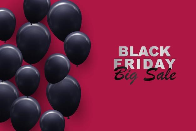 Zwarte vrijdag achtergrond met ballonnen vectorillustratie
