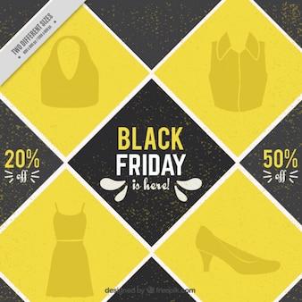 Zwarte vrijdag achtergrond met gele vierkanten