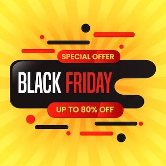 Zwarte vrijdag badge verkoop banner in vloeibaar vormontwerp