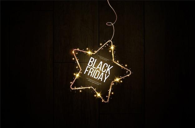 Zwarte vrijdag banner. een feestelijke gouden, gloeiende lijst die bezaaid is met goudstof.