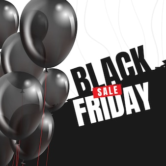 Zwarte vrijdag banner met ballonnen