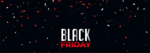 Zwarte vrijdag banner met rode en witte confetti