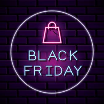 Zwarte vrijdag banner ronde vorm neon met tas