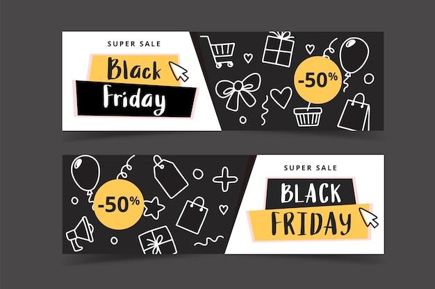 Zwarte vrijdag banner set met doodle elementen Premium Vector