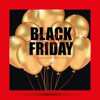 Zwarte vrijdag banner vierkante vorm met gouden ballonnen