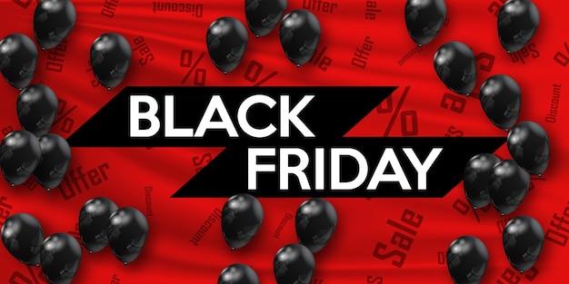 Zwarte vrijdag. banner voor uw ontwerp met zwarte luchtballonnen van de werelddag van verkoop