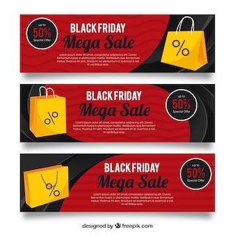 Zwarte vrijdag banners met boodschappentassen