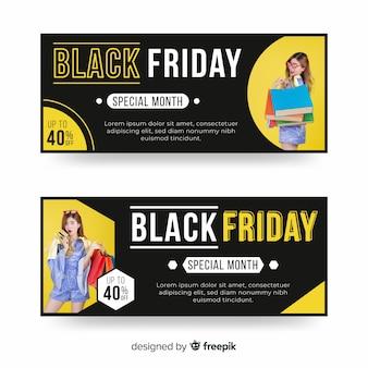 Zwarte vrijdag banners met foto in plat ontwerp