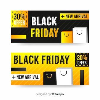 Zwarte vrijdag banners met in plat ontwerp