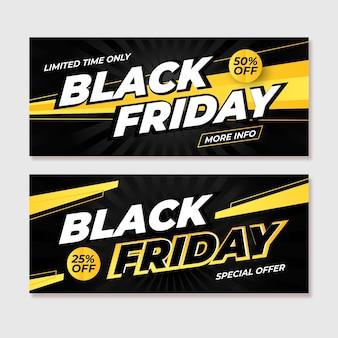 Zwarte vrijdag banners met kleurovergang